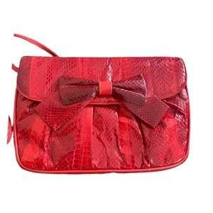 Vintage 80s Clemente Red snakeskin purse with bow